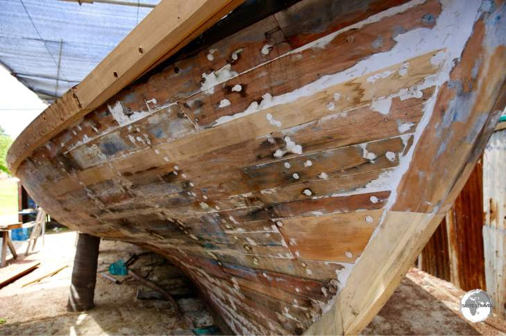 Traditional boat-building is still practiced on Maafushi island.