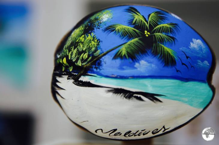 Painted coconut souvenir from the art studio of Ibrahim Shinaz of Maafushi Island.