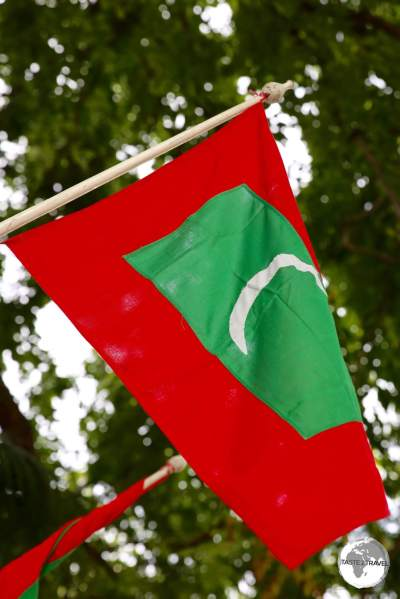 The flag of the Maldives flying in Malé.