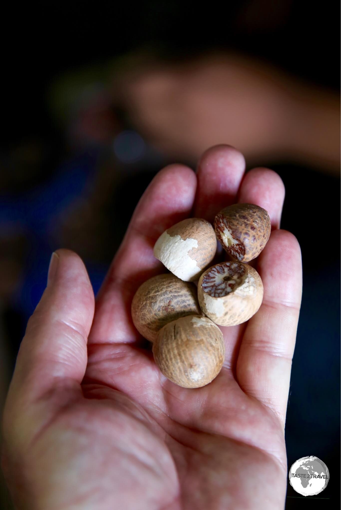 Dried Areca nuts at the Malé produce market.