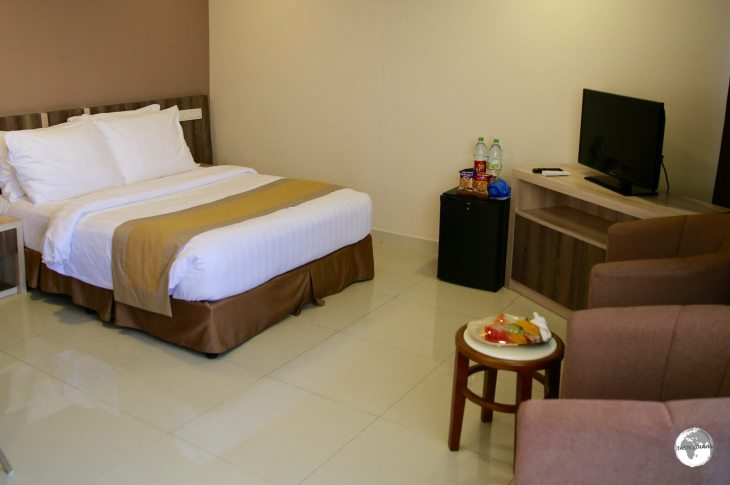 The spacious rooms at the Champa Central hotel offer a welcome respite from the over-crowded city outside.