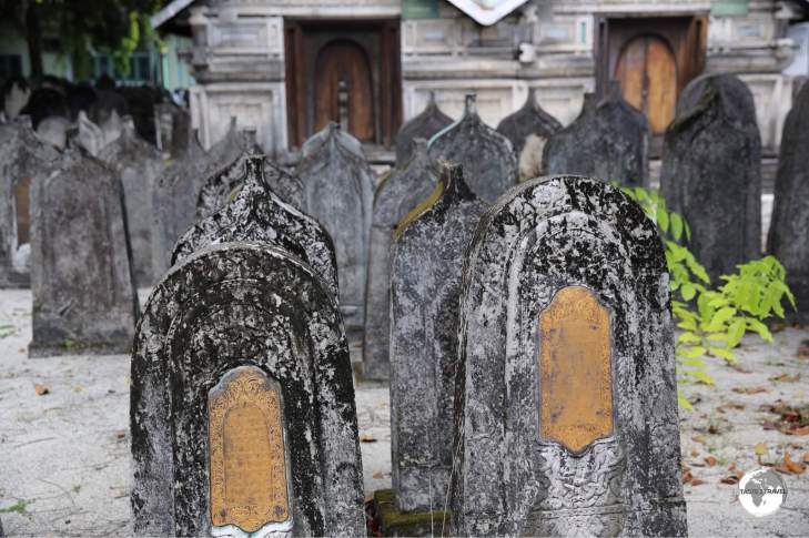 Coral tombstones at the Friday mosque cemetery.