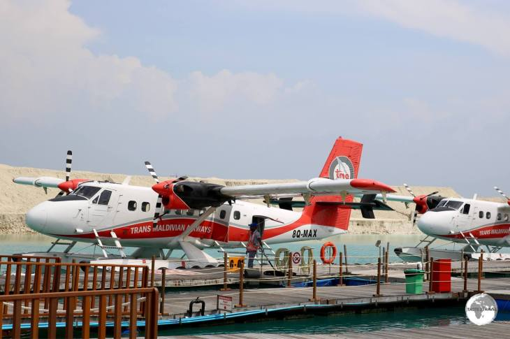 TMA seaplanes, ready to board resort guests at Terminal C in Malé.
