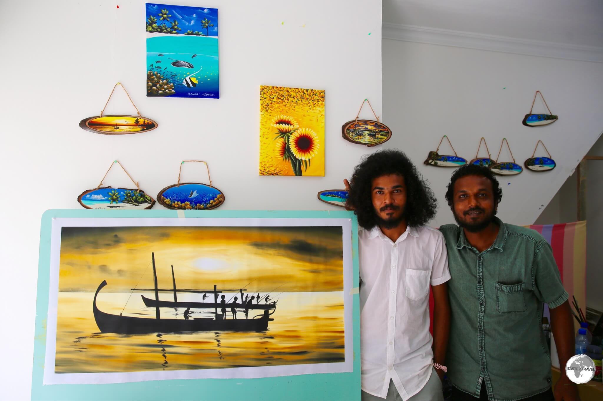 Ibrahim Shinaz in his studio on Maafushi.