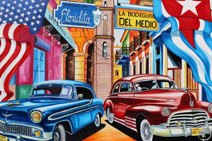 Artwork in Havana old town showing the Floridita bar, the home of the Daiquiri.