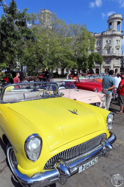 American classic car taxi's available for hire at Parque Central in Havana old town.
