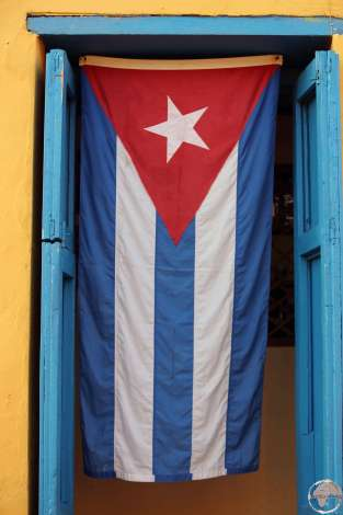 Cuban flag in Trinidad.