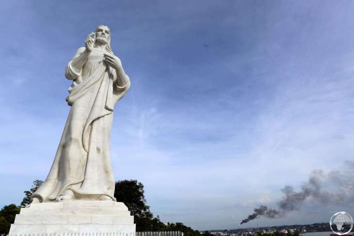 Overlooking Havana bay, this 20-m high, 350-ton statue of Christ was carved out of Carrara marble by a Cuban sculptor - Jilma Madera.