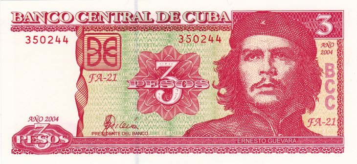 Che Guevara adorns this 3-peso bank note, which I purchased from a currency dealer on <i>Plaza de Armas</i> in Havana old town.