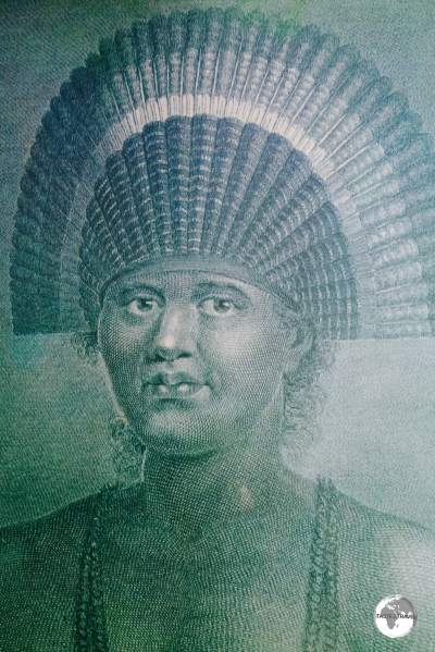 "An engraved portrait titled ""Poulaho, King of the Friendly Islands"", which was made during Cook's voyage, on display at Friend's cafe in Nuku'alofa."