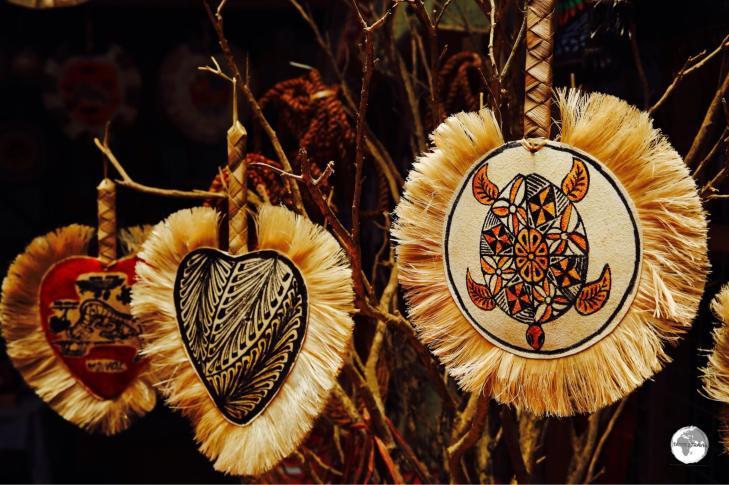 Souvenir fans on sale at the Talamahu market in Nuk'alofa.