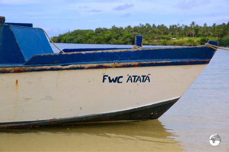 Fishing boat in the village on 'Atata island.