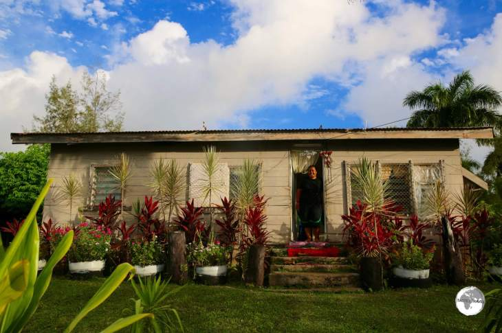 A house with a well-tendered garden on 'Eua island.