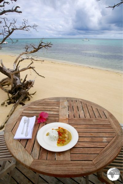 The perfect setting for lunch at Fafa Island resort.