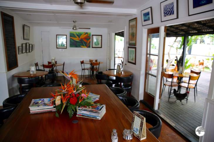My favourite café in Tonga - Friend's Café (Note the chicken - they are always running around looking for stray crumbs).