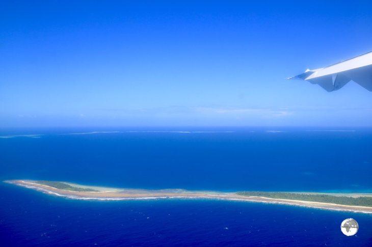 First views of remote Tuvalu from my Fiji Airways flight.