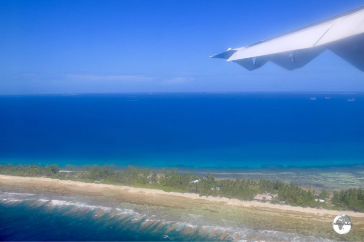 The view of Funafuti on final approach to the airport.