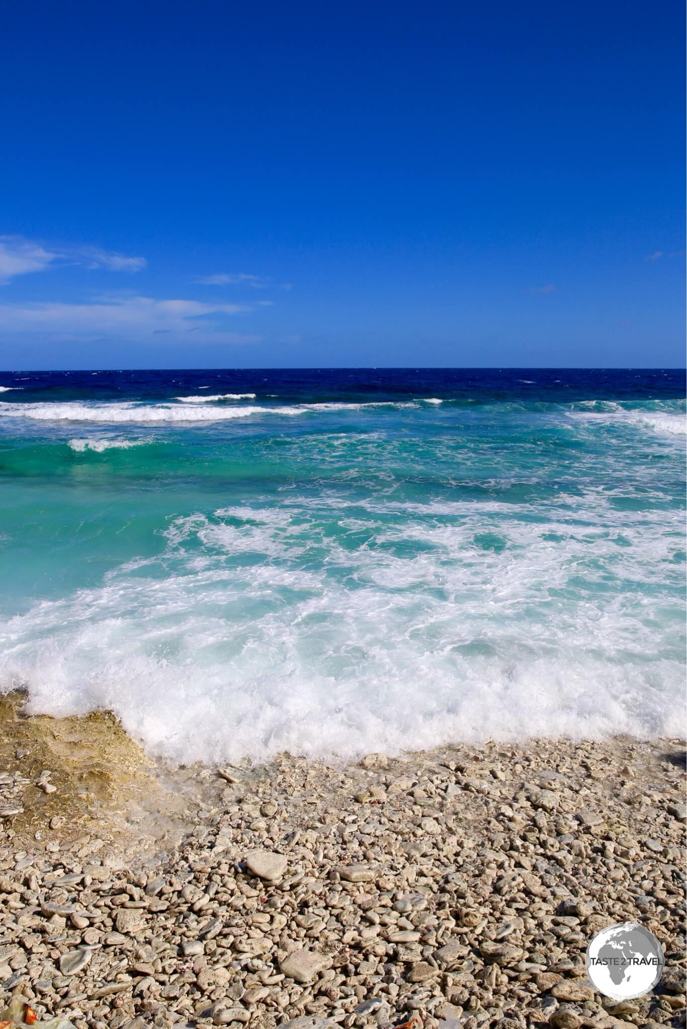 The exposed ocean side of Funafuti.