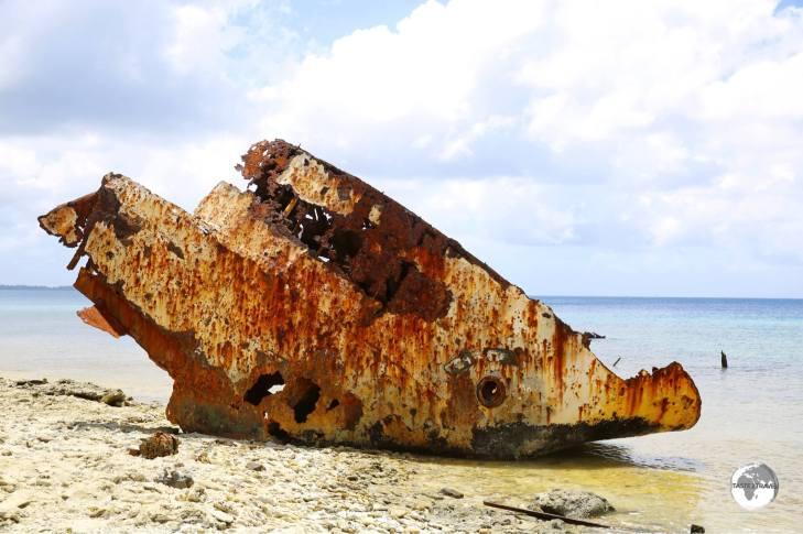 A shipwreck in the lagoon - north of Funafuti port.