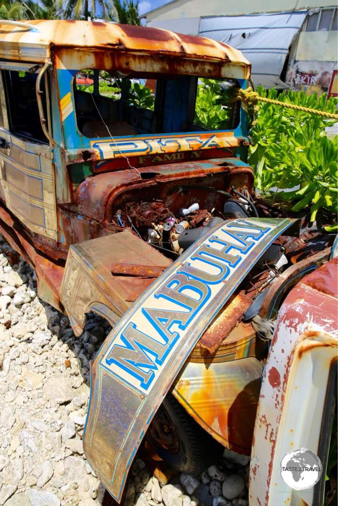The abandoned Filipino Jeepney still sports its 'Mabuhay' (means 'Welcome in Filipino) panel.