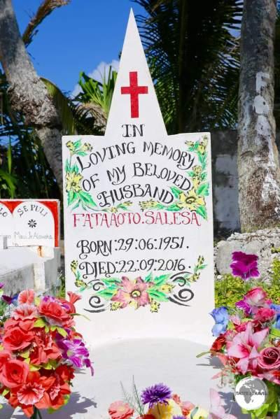 A colourful tombstone on Funafuti.