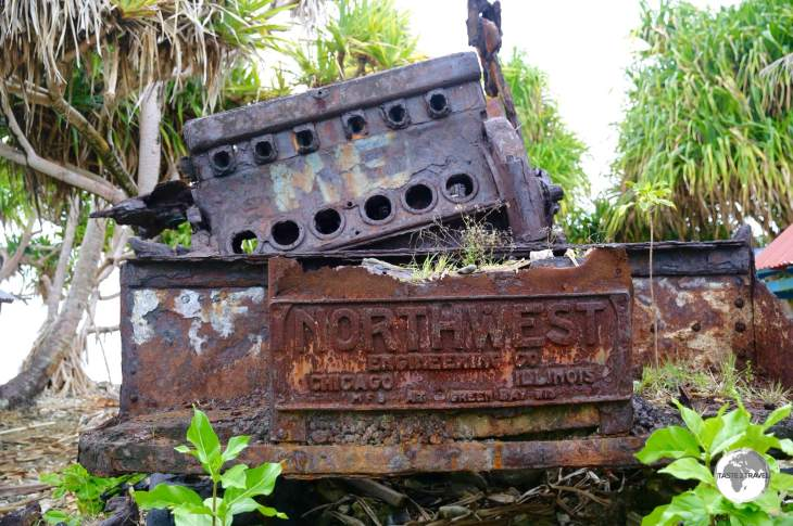 Rusted WWII construction equipment left on Tuvalu by US Marines ('Seabees').