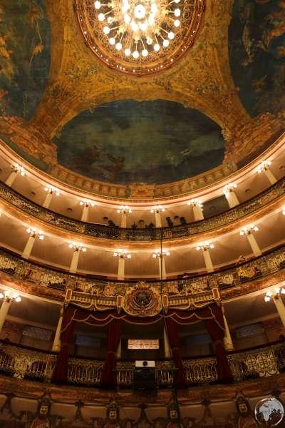 The opulent interior of the Teatro Amazonas, Manaus.