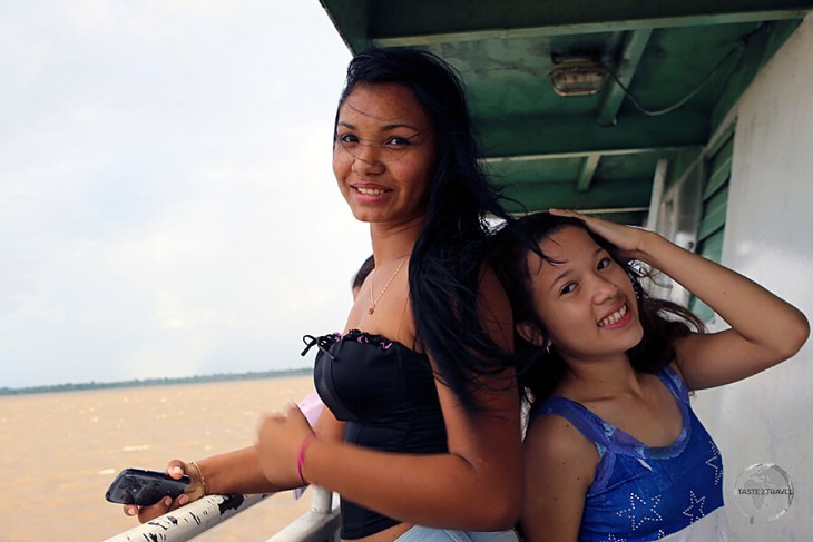 Two girls on the slow boat from Santarém to Belém.