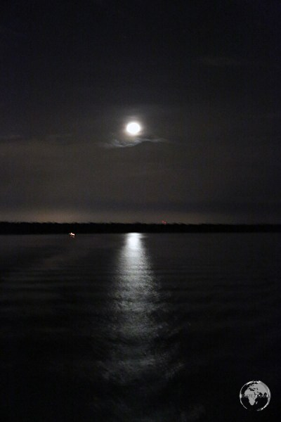 A moonlit Amazon River as seen from my boat as we slowly approached Belem.