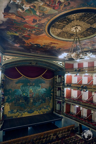 The opulent Teatro de Paz (Theatre of Peace) in Belem was built during the colonial era using proceeds from the Rubber boom.