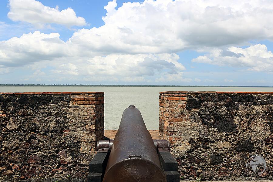 A Portuguese cannon overlooks the Amazon river from Presepio Fort in Belém, Brazil.