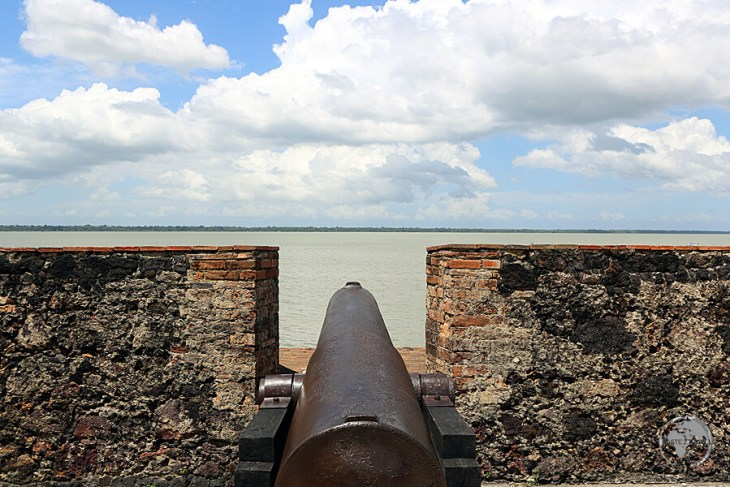 A Portuguese cannon overlooks the Amazon river from Presepio Fort in Belem, Brazil.