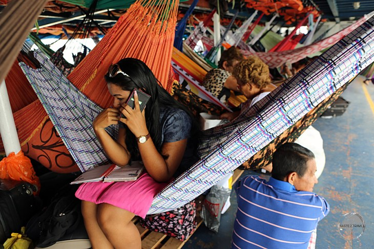 The very crowded 'hammock-class' on the M/V Sao Francisco de Paula which connects Macapá and Belém.