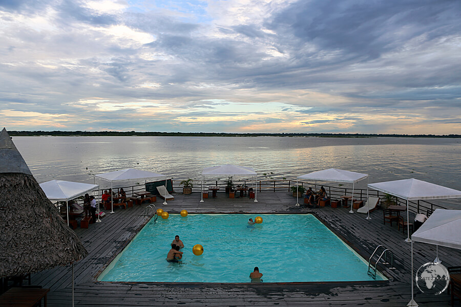 """The swimming pool at the floating """"Al Frio y al Fuego"""" restaurant, which lies in the middle of the Amazon river in Iquitos, Peru."""