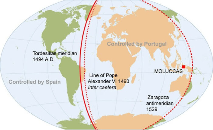 A world map showing the two hemispheres as defined by the Treaty of Tordesillas.