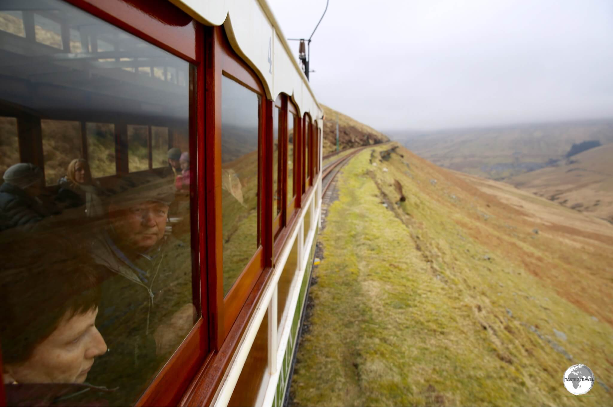 The Snaefell mountain railway conveys passengers to thwe loftiest point on the island - Mount Snaefell (620m / 2,037 feet) above sea level.