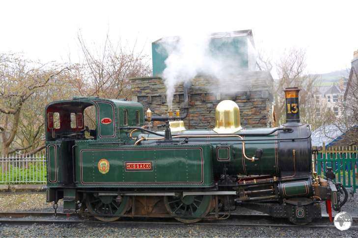A Steam locomotive at Port Erin train station.
