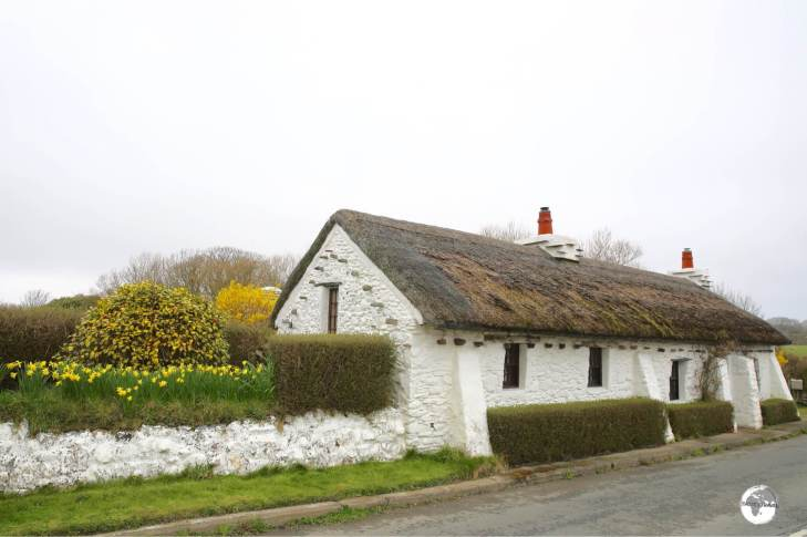 A typical Isle of Man thatched cottage near the north coast.