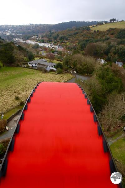 A view of Laxey village from the top of the wheel.