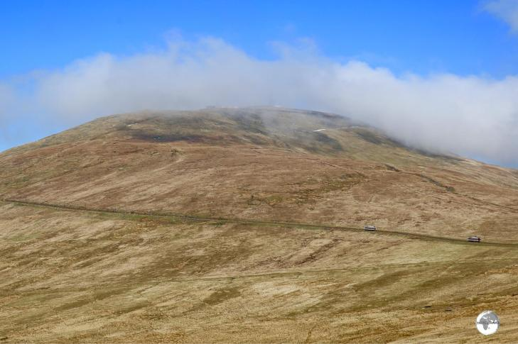 A view of Mt. Snaefell from the main road. Trains can be seen climbing to the summit.