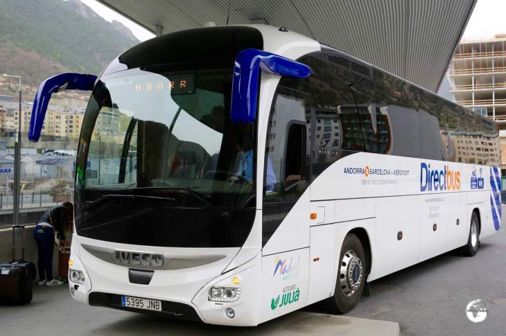 Comfortable coaches provide regular connections from Andorra to both Spain and France.