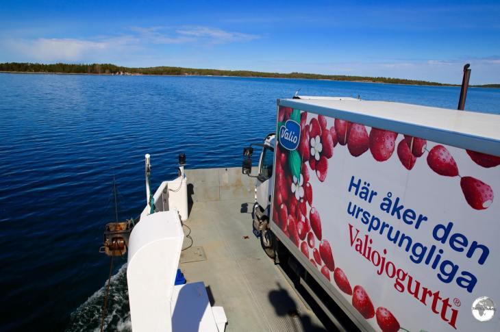 Crossing to Vårdö island on a cable ferry.