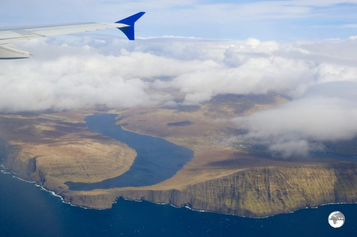 A view of the magnificent Sørvágsvatn from my SAS Airlines flight as we approach the Faroe Islands.
