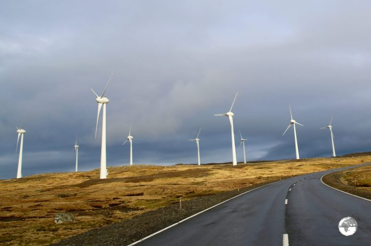 A wind farm located alongside route 10 on the central plateau of Streymoy Island.