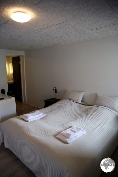 My comfortable room at the remote HotelGjáargarður in Gjógv.