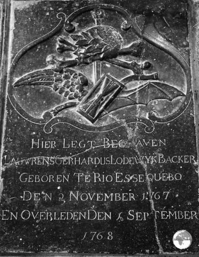 The tombstone of Laurens Backer which is embedded in the floor of the 'Court of Policy' building.