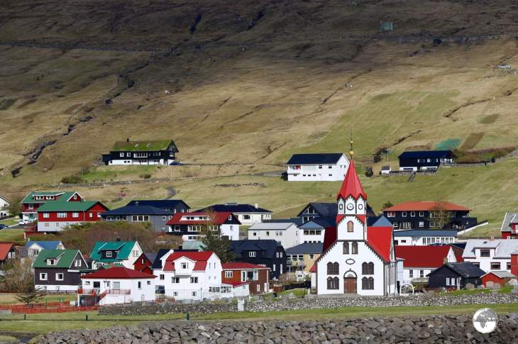 The striking church of Sandavá dominates the village of Sandavágur, which has twice been voted the best-kept village in the Faroe Islands.