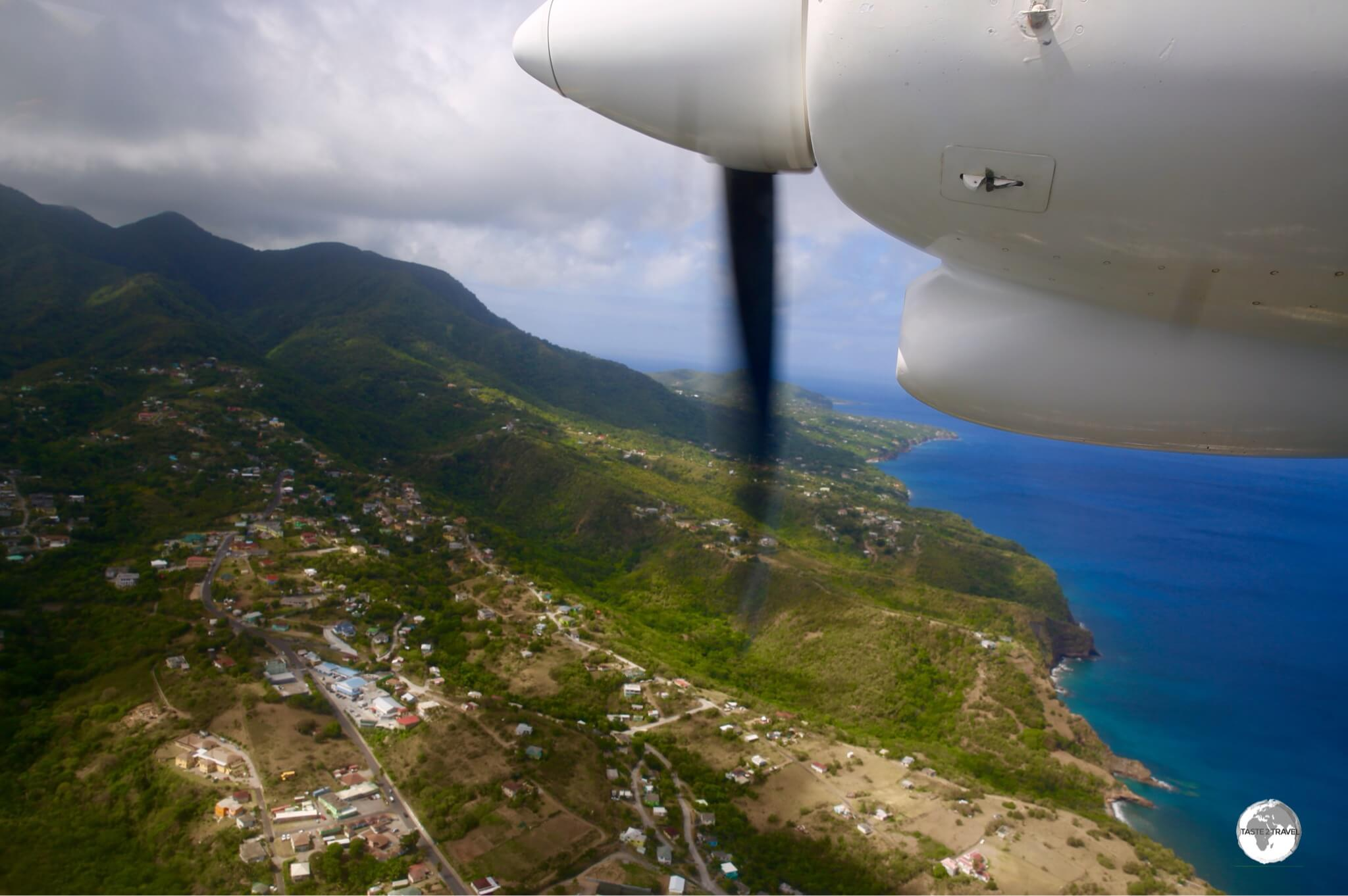 Flying into volcanic Montserrat.