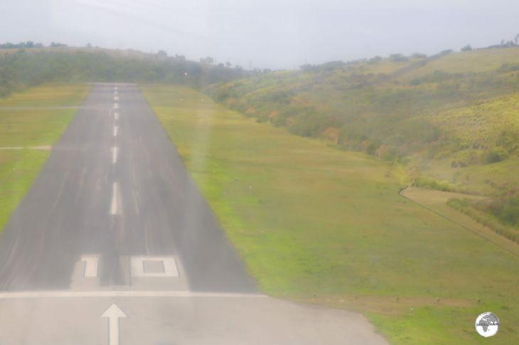 On final approach to John A Osborne airport, Montserrat.