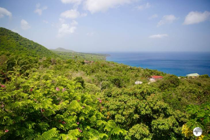 A sweeping view of the lush west coast of Montserrat from the Gingerbread Hill Guest House.